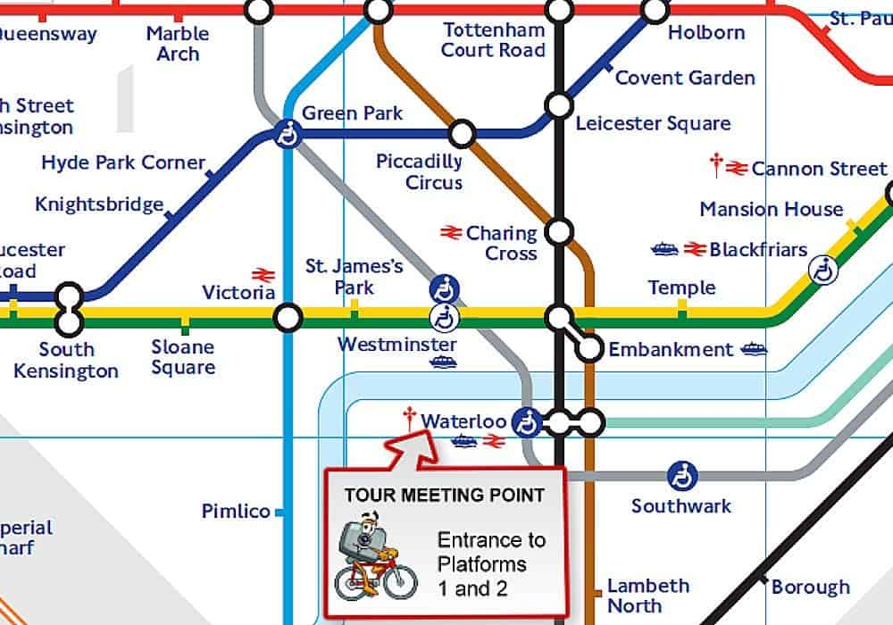 Map Of Waterloo Station Meeting Point | BrakeAway Bike Tours